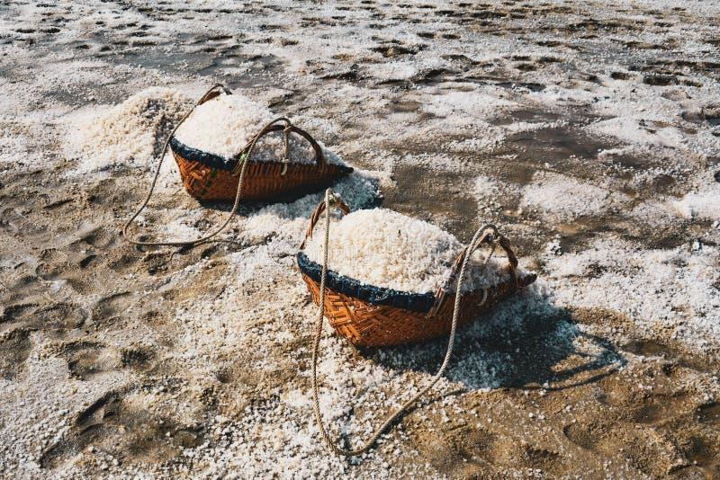 Zoute verdampingsvijver, zout in het zoute overzeese zoute landbouwbedrijf, Thailand stock foto's