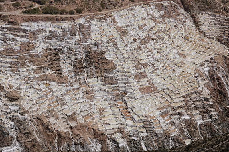 Zoute vijvers van Maras Peru South America stock foto