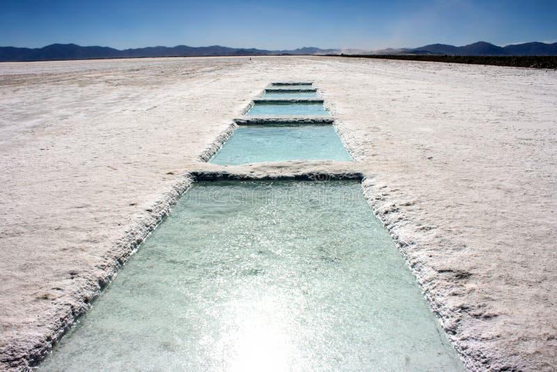 Zoutmeren Grandes, in Jujuy, Argentinië stock fotografie