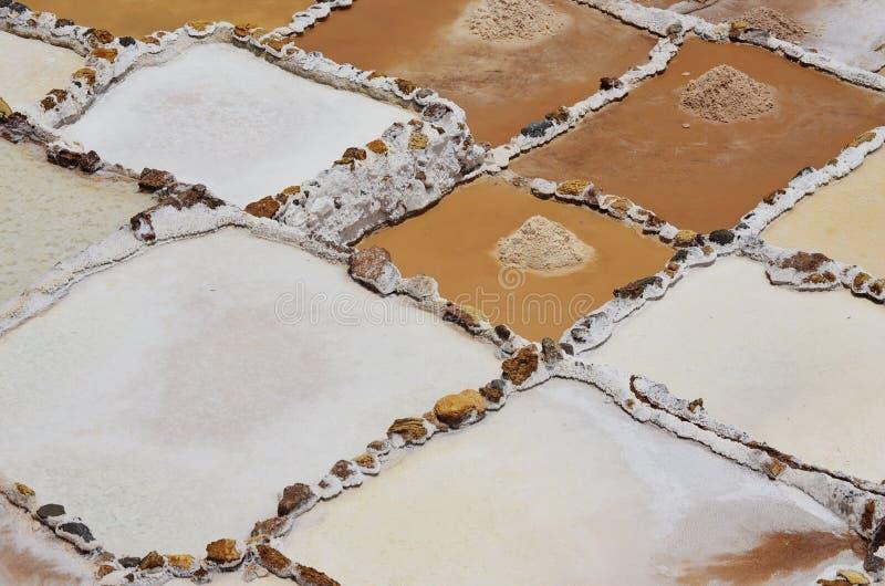 Zoutmijnen van Maras, in de Heilige Vallei van Peru royalty-vrije stock fotografie
