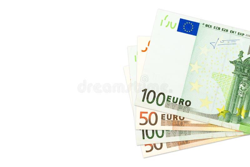 Zowat 50 en 100 euro bankbiljetten, exemplaarruimte stock afbeeldingen