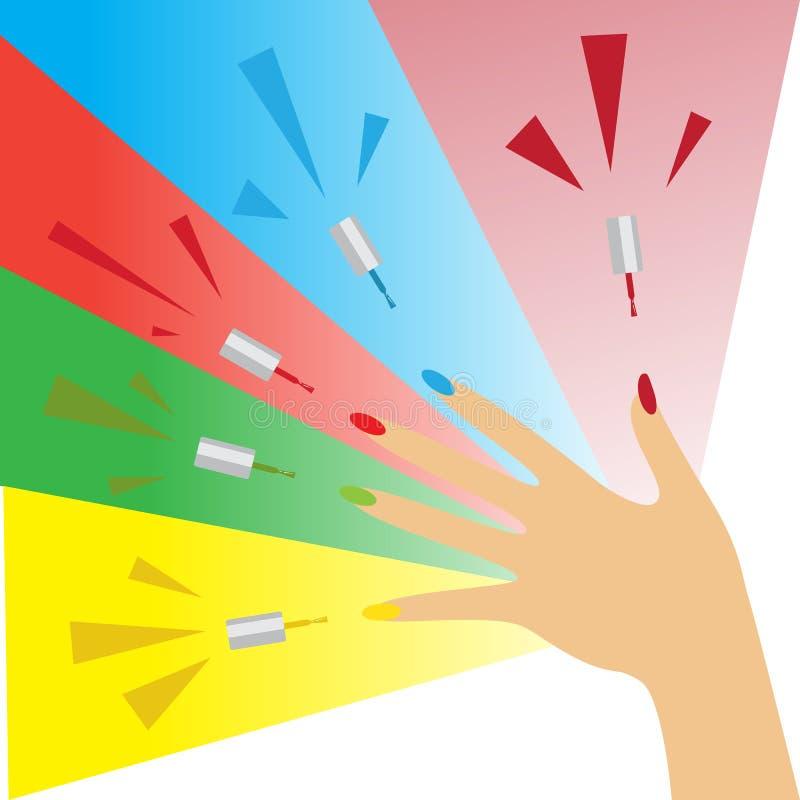 zrób sobie paznokcia polskich produktów Kobiety ręka z stosować lakier na gwoździach ilustracji