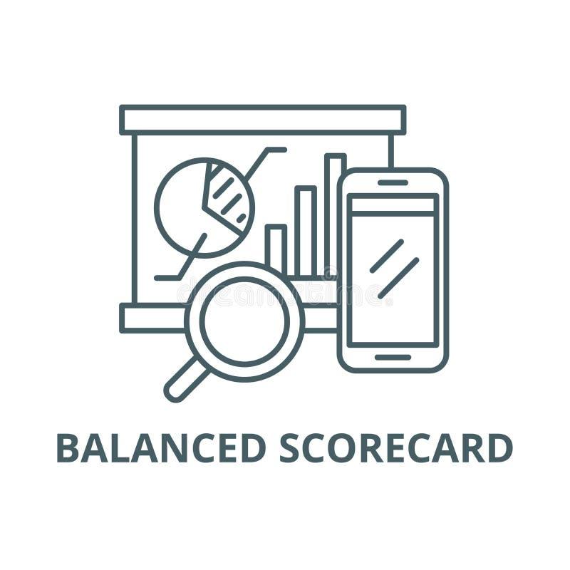 Zrównoważona karta wyników linii ikona, wektor Zrównoważony karta wyników konturu znak, pojęcie symbol, płaska ilustracja royalty ilustracja