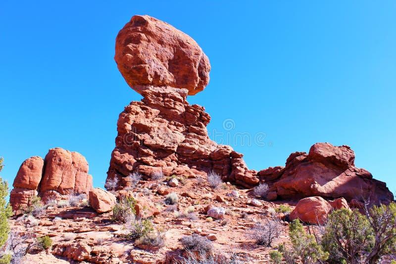 Zrównoważona skała, łuki parki narodowi, Moab ut fotografia royalty free