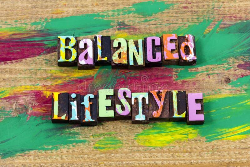 Zrównoważonej styl życia równowagi życia pracy letterpress zdrowa wycena fotografia stock