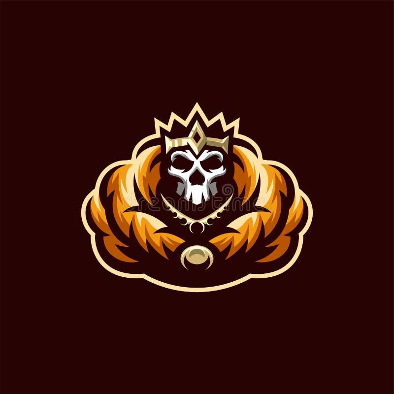 Zredukowanego czaszka logo projekta ilustracji wektorowy szablon ilustracja wektor