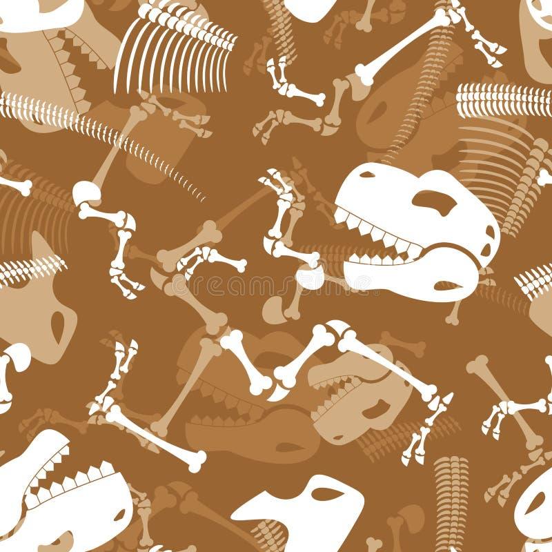 Zredukowanego dinosaura bezszwowy wzór Dino kości ornament Tyranno ilustracja wektor