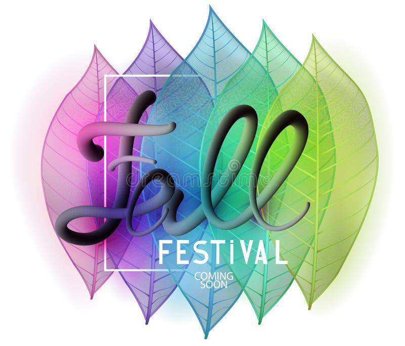 Zredukowani kolorowi liście Jesień festiwalu tło ilustracja wektor