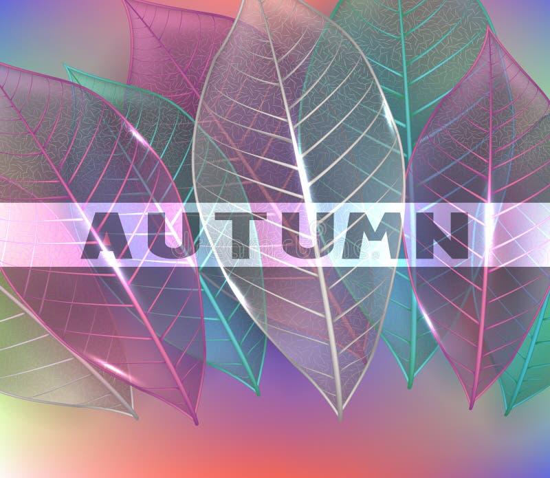 Zredukowani kolorowi liście jesienią zbliżenie kolor tła ivy pomarańczową czerwień liści ilustracja wektor