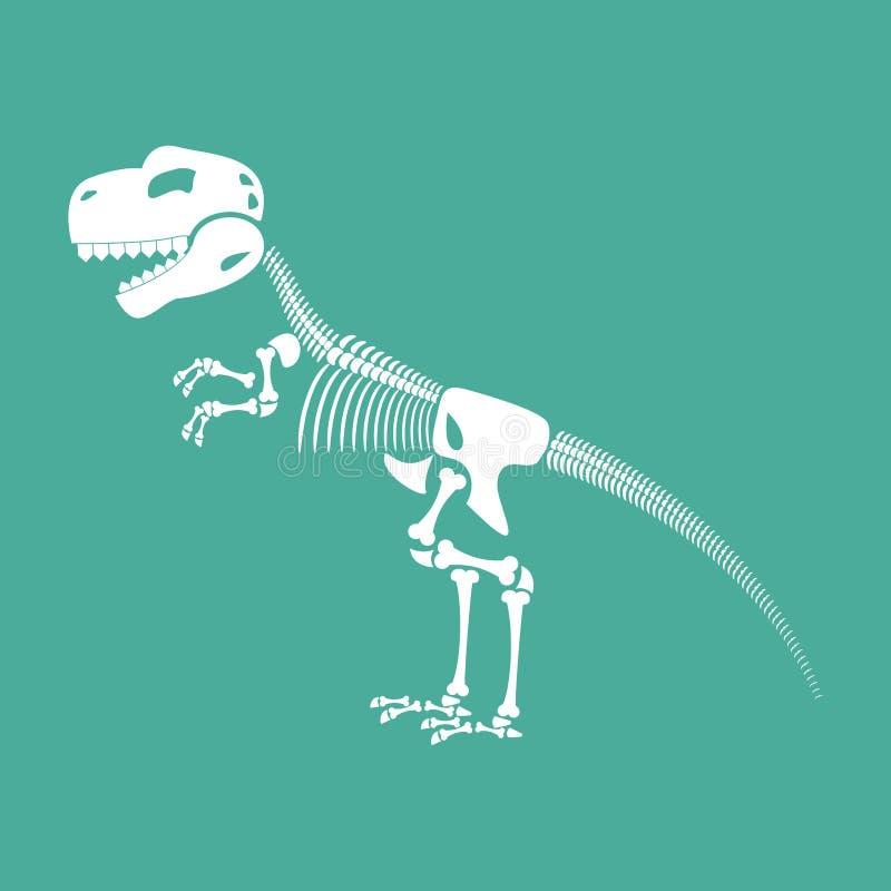 Zredukowany dinosaur Dino kości Tyrannosaurus czaszka Pre ilustracja wektor