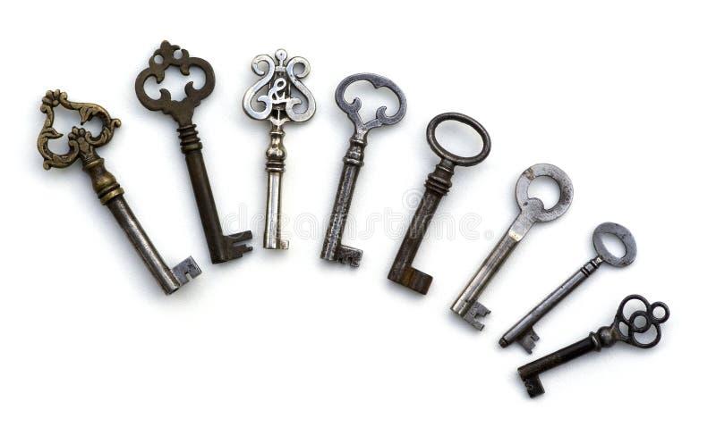 zredukowanych odosobnionych antyków 8 kluczy fotografia stock