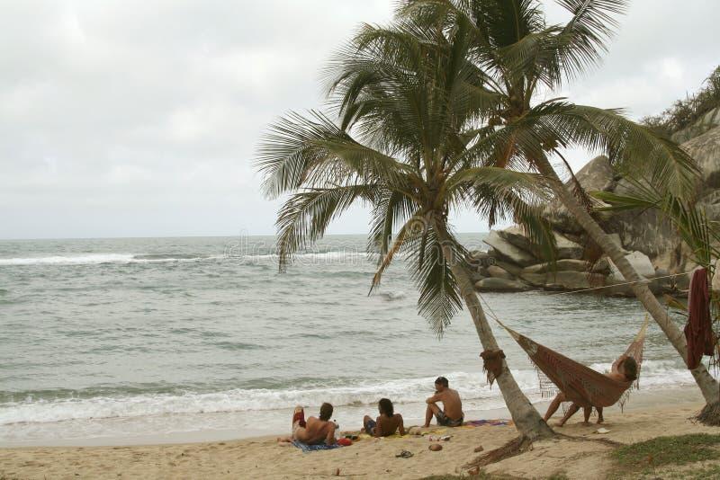zrelaksować hamaka na plaży fotografia royalty free