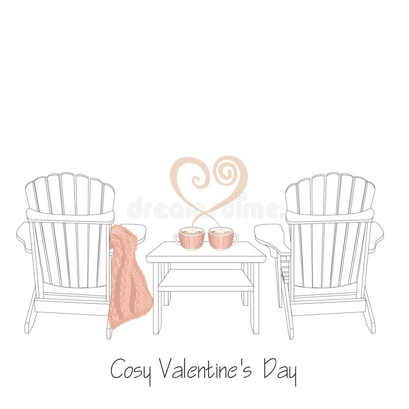 Zrelaksowana domowa świątobliwa valentine ` s dnia ilustracja Dwa plenerowego drewnianego krzesła z trykotową szkocką kratą royalty ilustracja