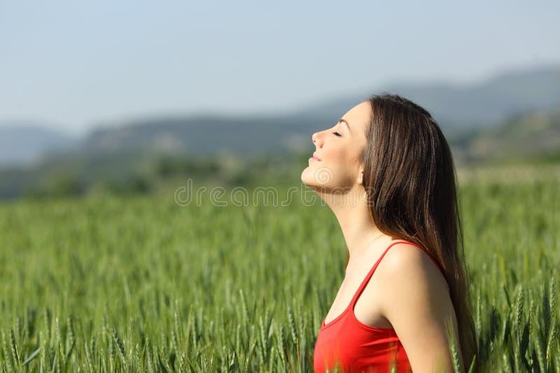 Zrelaksowana kobieta w czerwonym oddychania świeżym powietrzu w polu obrazy stock