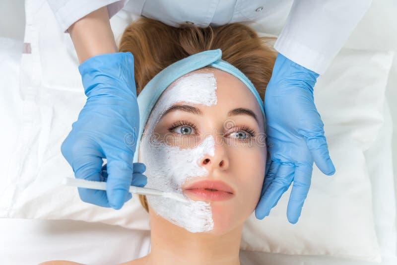 Zrelaksowana młoda kobieta dostaje twarzowego skóry opieki traktowanie przy piękno salonem Beautician dotyka muśnięcie z gliną st fotografia stock
