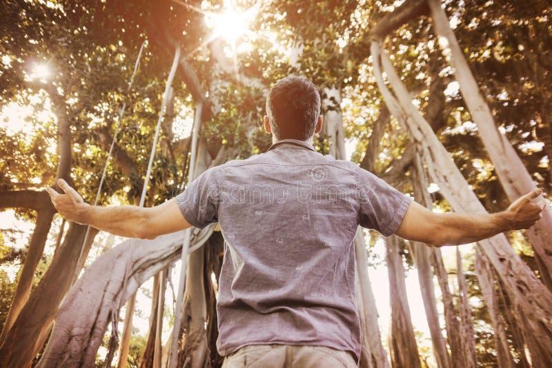 Zrelaksowany mężczyzna cieszy się lato czas w tropikalnym lesie fotografia stock