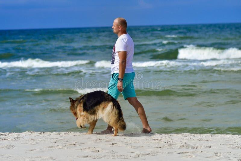Zrelaksowany młodego człowieka odprowadzenie na plaży zdjęcie royalty free