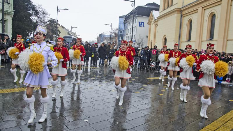 Festival of the majorettes on the street. ZRENJANIN, SERBIA, 12, JANUARY 2019; Street promotion of the majorettes from Herceg Novi, Montenegro and announcements royalty free stock photo