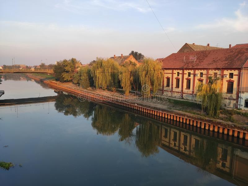 Zrenjanin Serbia river Begej bank in sunset. Great sunny weather in autumn provided us with this photo stock photos