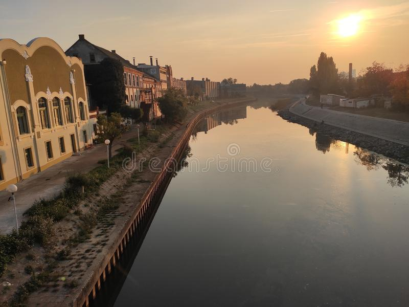 Zrenjanin Serbia river Begej bank in sunset. Great sunny weather in autumn provided us with this photo royalty free stock images