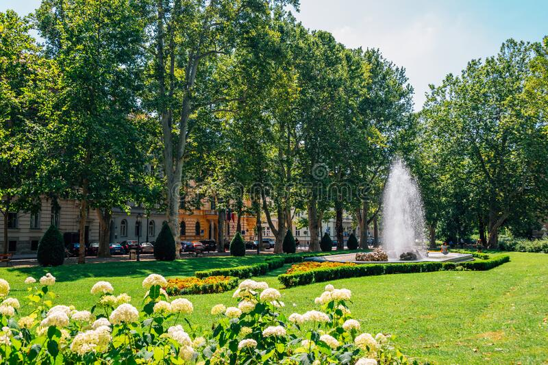 Zrinjevac park at summer in Zagreb, Croatia. Europe stock photography