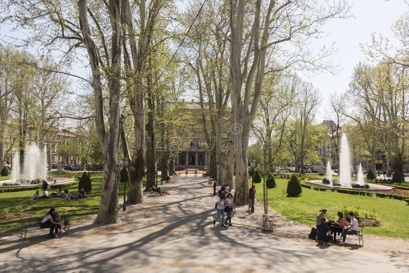 Zrinjevac-Park in Zagreb, Kroate caputal stockfotografie