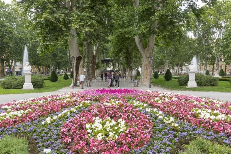 Zrinjevacpark in Zagreb, Kroatisch kapitaal royalty-vrije stock foto