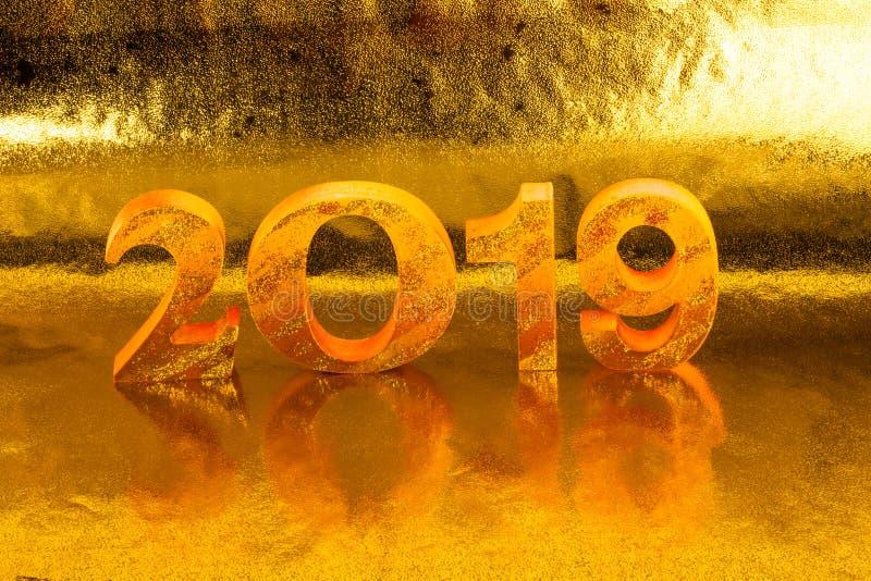 2019 zrobi w złocistym koloru miejscu w złotym tle fotografia stock