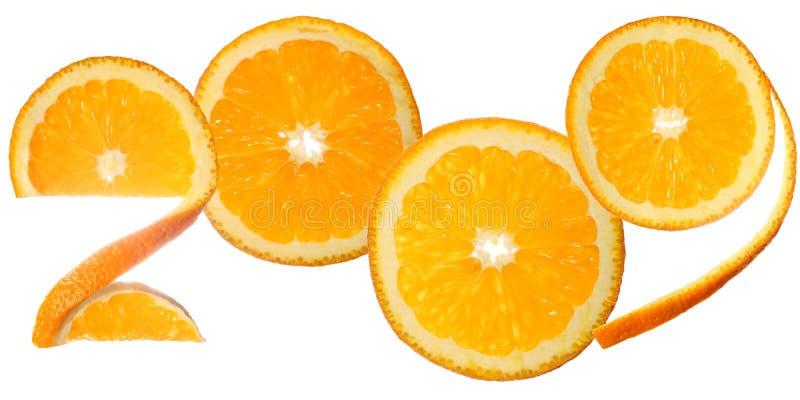 zrobili 2009 pomarańczowym plasterkom obraz royalty free