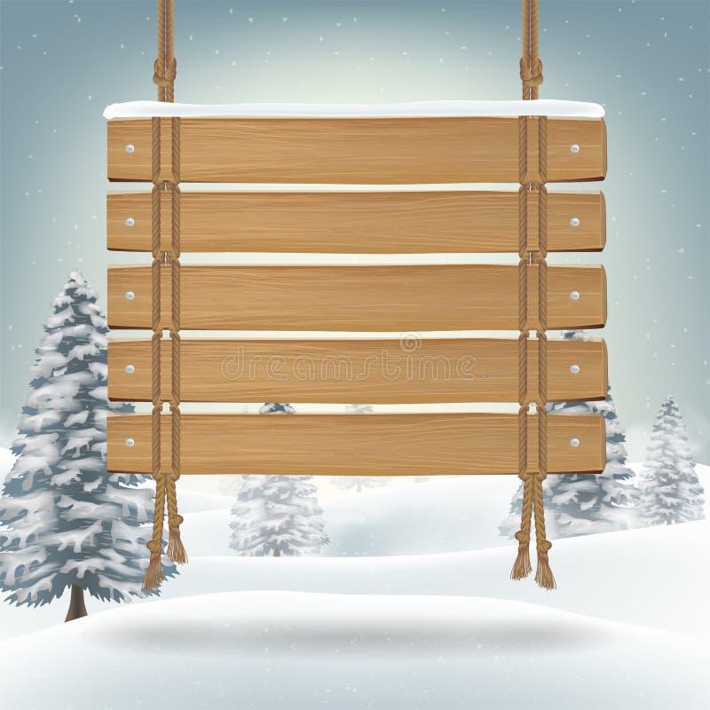 Zrozumienia drewna deska z śnieżnym zimy tłem royalty ilustracja