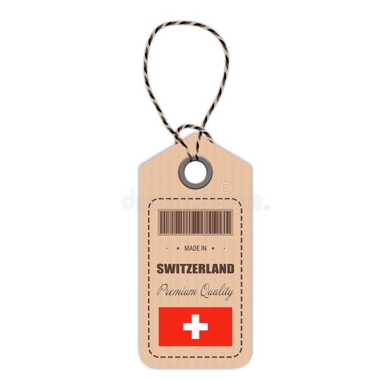 Zrozumienie etykietka Robić W Szwajcaria Z Chorągwianą ikoną Odizolowywającą Na Białym tle również zwrócić corel ilustracji wekto ilustracja wektor