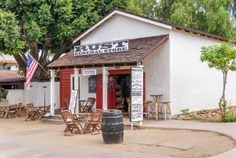 Zrudziały Ogólny sklep przy Starym Grodzkim San Diego stanu Historycznym parkiem obraz royalty free
