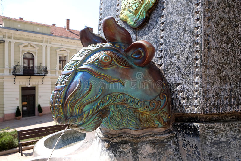 Zsolnay manufactured sculptures on a fountain in the main square in Pecs Hungary stock photography