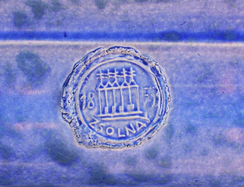 Zsolnay trademark. Trademark stamp of Zsolnay Manufactory on the tiles of Blue Fountain in Subotica, Serbia royalty free stock photography