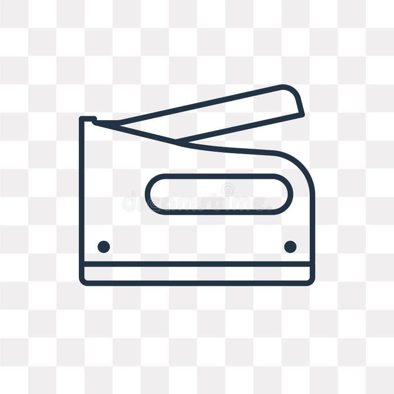 Zszywacz wektorowa ikona odizolowywająca na przejrzystym tle, liniowy S ilustracja wektor