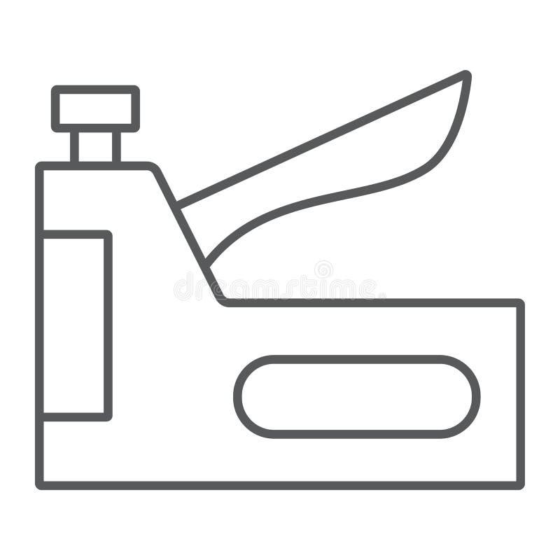 Zszywka pistoletu cienka kreskowa ikona, narzędzie i naprawa, zszywacza znak, wektorowe grafika, liniowy wzór na białym tle ilustracja wektor