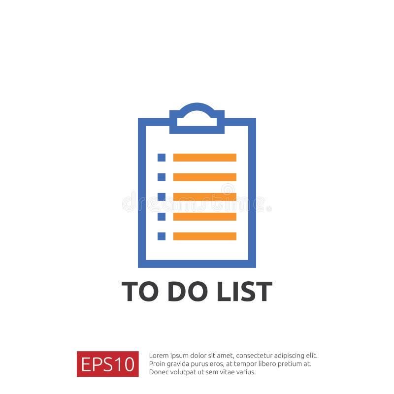 Zu Listen- oder Planungsikone in der flachen Art tun vector Illustrationskonzept der Checklistenpapier-Blattanzeige mit Häkchen stock abbildung