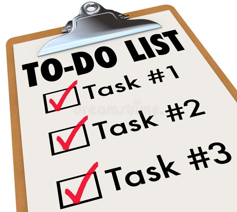 Zu-listen Sie Aufgaben auf, Klemmbrett-Prüfzeichen-, daswörter an Ziele sich erinnern lizenzfreie abbildung