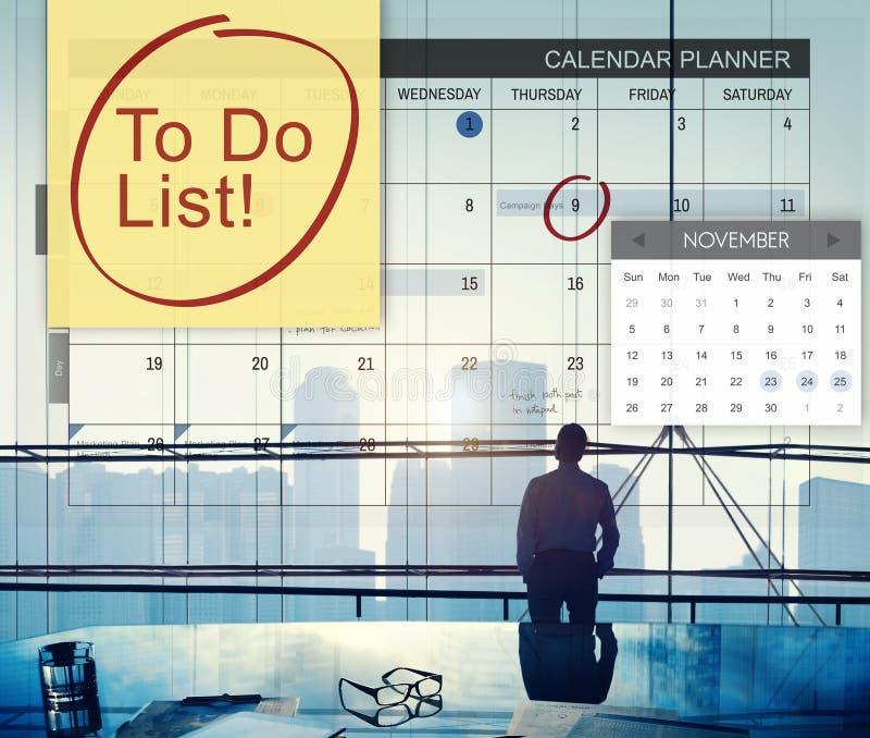 Zu Listen-Zeitplan-Kalender-Planer-Organisations-Konzept tun lizenzfreie stockbilder