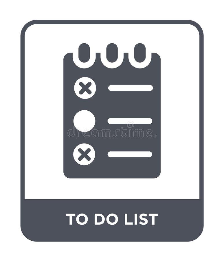 zu Listenikone in der modischen Entwurfsart tun zu die Listenikone tun lokalisiert auf weißem Hintergrund zu die Listenvektorikon stock abbildung