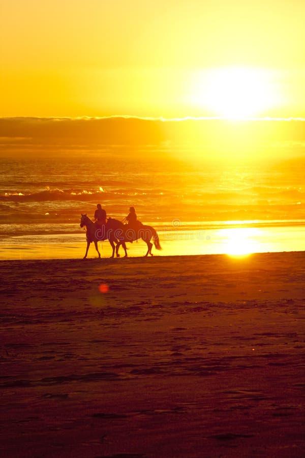 Zu Pferde Sonnenuntergang lizenzfreie stockfotos