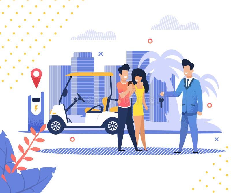 Zu verbinden Manager-Hands Over Key-Hotel-Transport lizenzfreie abbildung