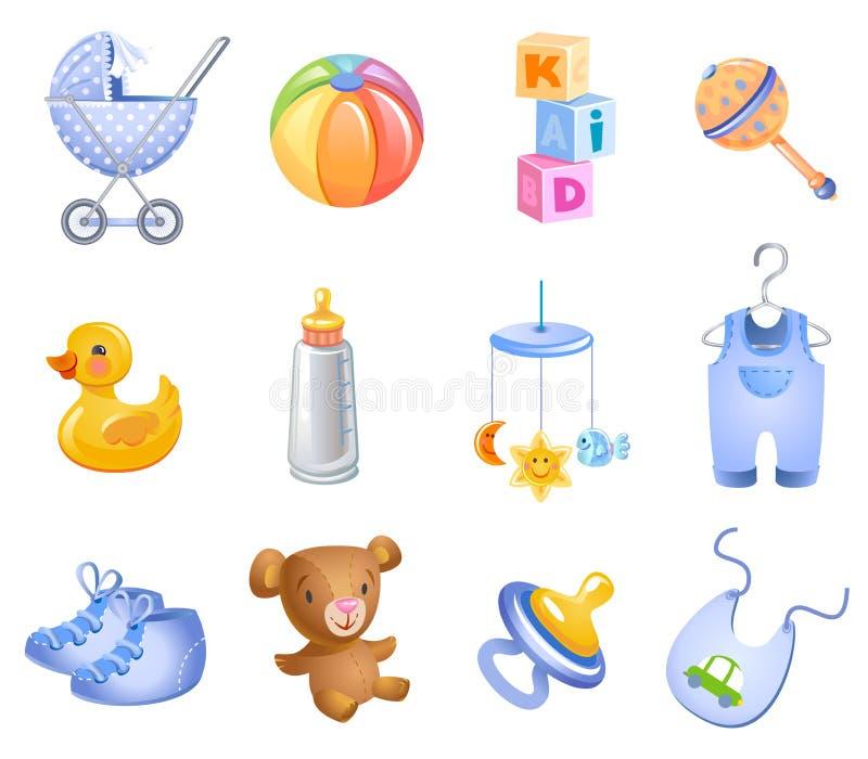 Zubehör für Baby. stock abbildung