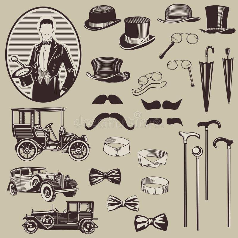 Zubehör und alte Autos der Herren stock abbildung