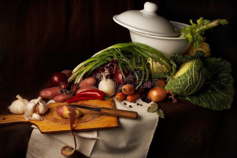 Zubereitung der Suppe lizenzfreie stockbilder