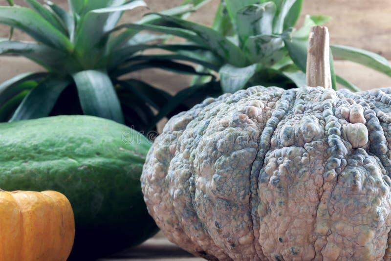 Zucca, ananas, papaia sul backgrou di legno della sfuocatura immagine stock