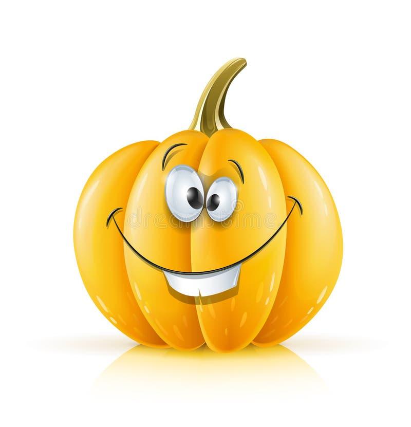 Zucca arancione matura sorridente illustrazione vettoriale