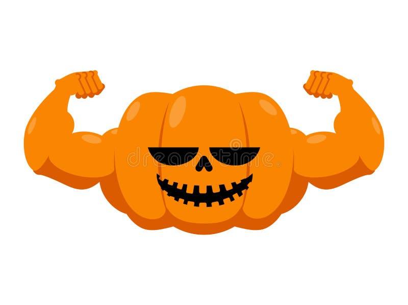 Zucca con i muscoli Forma fisica Halloween Verdura con il grande ha illustrazione di stock
