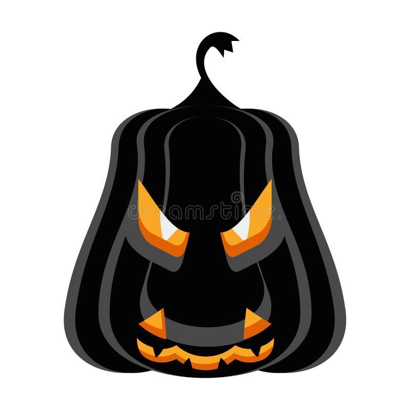 Zucca del nero del carattere del partito di Halloween con i malocchi brucianti illustrazione di stock