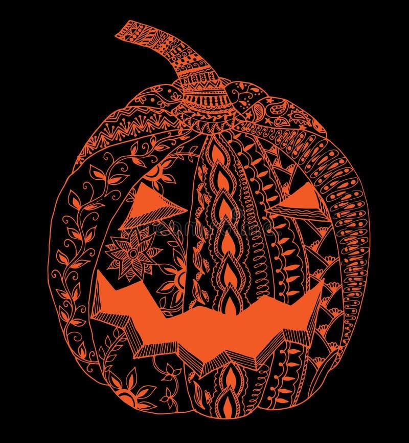 Zucca dello zentangle di Halloween fotografia stock